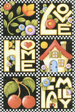 LOVE HOME FAMILY Cherries-Handcrafted Fridge Magnet-Using art by Mary Engelbreit