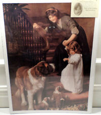 Victorian Lithograph Print Picture You Be Good Mother Child And Puppy Dogs 12X16