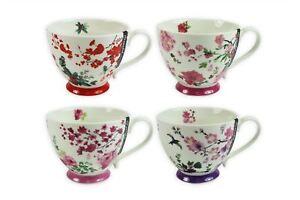 New Bone China Mugs Set of 4 Oriental Design Tea Coffee Home Kitchen Office Cups