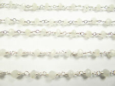 4.25MM NATURAL MOONSTONE FACETED HAND MADE SILVER PLATED GEM STONE LINK CHAIN 11