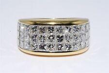 $17,990 4.32CT 3 ROW NATURAL PRINCESS CUT INVISIBLE SET DIAMOND BAND 18K GOLD