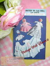 Vintage Toy Knitting Pattern. Knitted 10-Inch Doll & Layette, Shawl, Dress Etc.