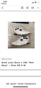 Aime Leon Dore ALD x New Balance 550 White Red Navy Sz 9 BB550A3