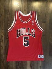 RARE Vintage JOHN PAXSON #5 Chicago Bulls Champion Jersey Size 44 Large L *