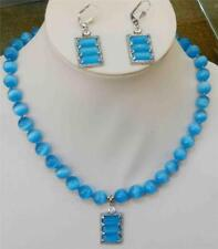 """Beautiful Blue Mexican Opal Round Beads Gems Pendant Necklace Earring Set 18"""""""