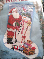 "Bucilla Christmas Needlepoint Stocking Kit,SANTA & SNOWMAN,60713,Gillum,18"",NIP"