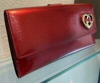 Auth GUCCI Interlocking GG Heart Motif Long Bifold Wallet Patent Red Leather