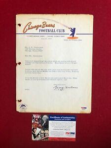 "1966, George Halas ""Autographed"" (PSA) Letter  (Scarce / Vintage) Bears"