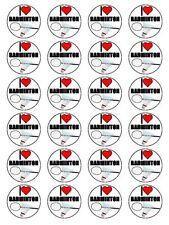"x24 1.5"" I Love Badminton Birthday Cupcake Topper On Edible Rice Paper"