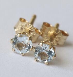 100% Genuine 9ct 9k 375 Yellow Gold NATURAL Sky Blue Topaz Stud Earrings 3mm