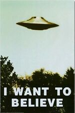 1990s The X-Files TV show I Want to Believe UFO fridge magnet - new!