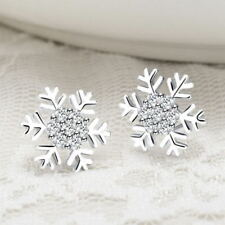 Christmas Winter Snow Snowflake Crystal Cubic Zirconia Dangle Drop Stud Earrings
