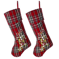 Set of 2 Christmas Stockings Red Tartan Embroided Mistletoe Design