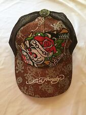 NWT Ed Hardy Brown Do or Die Skull Rose Baseball Cap Hat