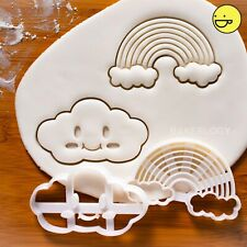 Set of 2: Kawaii Cloud + Rainbow cookie cutters | smile cute baby shower biscuit