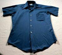 Vintage 60s 70s Men's Famous Barr Supre-Vino Button Down Shirt Retro M Blue