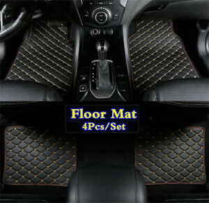 4Pcs PU Leather Front Rear Car Floor Mat Liner Auto Carpet Pad Set Accessories