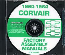 Chevy Corvair Auto Assemblaggio Manuale Set su CD 1960 1961 1962 1963 1964
