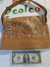 Authentic Lamarthe Paris Purse / Tote Beige Snake Skin Design - Made in Italy!