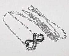 "Tiffany & Co. 18K White Gold Paloma Picasso Double Heart Necklace Diamonds 16"""