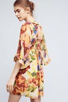 Maeve Anthropologie Deloria Women's Size 10 Printed Silk Dress Retail $168