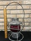 Sante Fe Railroad Handlan Kerosene Railroad Lantern AT & SFRY  Etched Red Globe