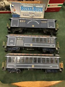 Bachmann 3 Royal Blue Passenger, Baggage, & Mail Cars With Lights Excellent Cond