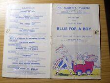 Vintage programme 1950.HIS MAJESTY'S THEATRE, HAYMARKET,S.W.1  BLUE FOR A BOY 6D