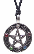 Pewter PENTACLE OF LIFE Pendant on Black Cord Necklace Nickel Free Pentagram Gem