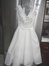 NEW WHITE TEA LENGTH DRESS WEDDING SZ 2 RHINESTSONE PEARLS SWEETHEART NECKLINE