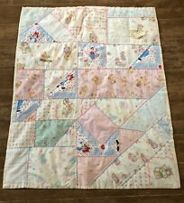 "Handmade Patchwork baby crib quilt blanket 43"" lap reborn doll blue pink yellow"