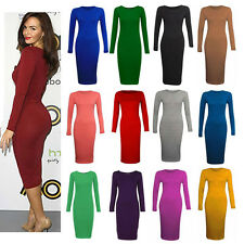 LADIES WOMENS LONG SLEEVE STRETCH BODYCON PLAIN JERSEY MIDI MAXI DRESS PLUS SIZE