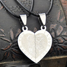 1 pairs heart-shaped Puzzle couple stainless steel pendant necklace