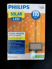 Philips Solar Powered LED Icicle Christmas Lights - 110 Bulbs Cool White