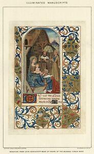 ILLUMINATED Manuscript Virgin Mary Example Authentic 1903 Stone Chromolithograph