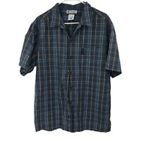 Columbia Mens L Large Blue Plaid Short Sleeve Button Up Shirt Adult Casual