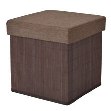Folding Storage Cube Bamboo Ottoman Seat Stool Box Footrest Decor Coffee