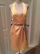 NWT Alfred Angelo Yellow Sunshine Modern Fit Halter Green Dash  Dress 12