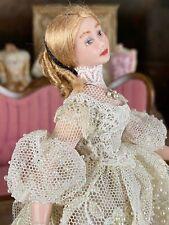 Vintage Miniature Dollhouse ARTISAN Porcelain Victorian Doll Lace Dress Parasol