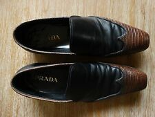 PRADA MENS CROCODILE WING TIP BLACK/BROWN LEATHER DESIGNER SLIP ON SHOES SIZE: 9