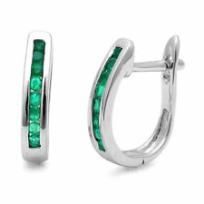 1.00 Ct Round Green Emerald Hoop Earring Crafted in White Gold
