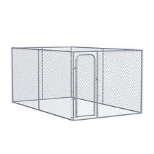 PawHut Galvanized Steel Dog Fence w/ Lockable Doors for Backyard and Patio
