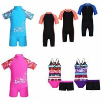 Kids Girls UPF 50+ Swimsuits Boys Rash Guard Tankini Bathing Suits Beach Wetsuit