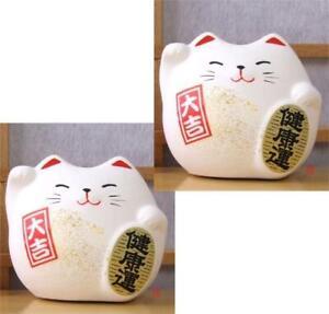 2 Japanese Feng Shui Lucky cat  white for health