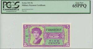 5 Cent Military Payment Series 541 PCGS MS65PPQ Gem