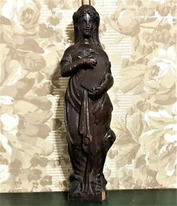 18 th Lady oak wood carving corbel bracket Antique french architectural salvage