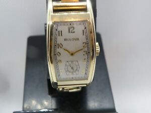 SERVICED 1930`s BULOVA  *THE DIRECTOR *  LONG  HEX SHAPED CASE ...REFINISHED