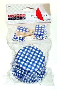 Summer Picnic Blue 24 Checked Cupcake & 24 Flag Picks Combo Pack  NIP