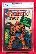 FANTASTIC FOUR #51 PGX 7.5 VF Very Fine- This Man This Monser! HTF! Unpressed!!