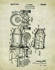 Concrete Cement Mixer Truck Patent Art Print Poster Antique Equipment  PAT240